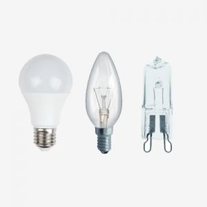 LED, kaitrinės, halogeninės, liuminescencinės ir kitos lempos