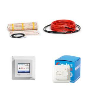 Šildymo kilimėliai, šildymo kabeliai ir priedai